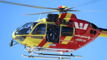 Connor was transferred by Westpac Helicopter to the Gold Coast Hospital.  Westpac Lifesaver Rescue Helicopter.