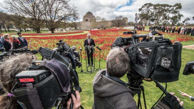 War Memorial director Brendan Nelson addresses media ahead of the 100th anniversary of Armistice Day.