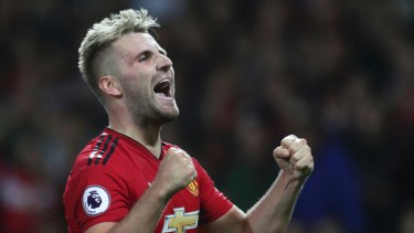 d668de71899 Manchester United s Luke Shaw celebrates after scoring his sides second  goal of the game during the