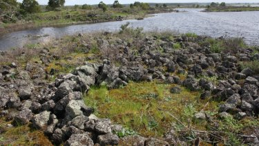 The remains of an ancient Indigenous stone house at Lake Condah, part of the Budj Bim landscape, that on Saturday received a World Heritage Listing.