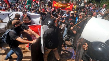 White nationalist demonstrators clash with counter demonstrators in Charlottesville, Virginia, in August 2017.