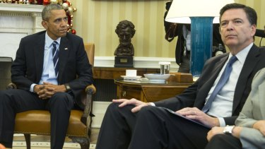 Encryption unresolved. US President Barack Obama and FBI director James Comey in the Oval Office of the White House after the San Bernardino massacre.