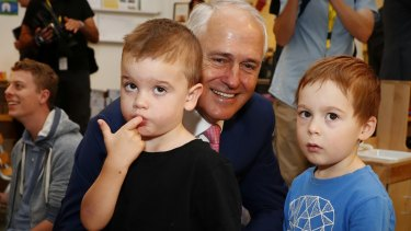 Malcolm Turnbull visits a Canberra childcare centre last year.
