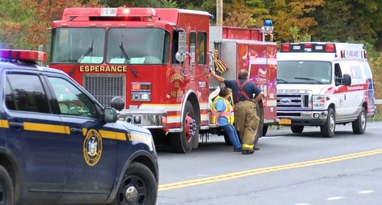 Emergency personnel at the scene of crash involving a limousine in upstate New York.