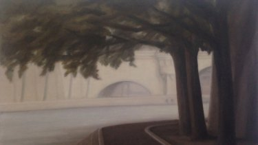 Peter Boggs, <i>View of the Seine, late autumn </i>(detail) in <i>Lux</i> at Beaver Galleries.
