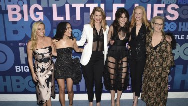 "Reese Witherspoon, from left, Zoe Kravitz, Laura Dern, Shailene Woodley, Nicole Kidman and Meryl Streep attend the premiere of HBO's ""Big Little Lies"" season two in New York."