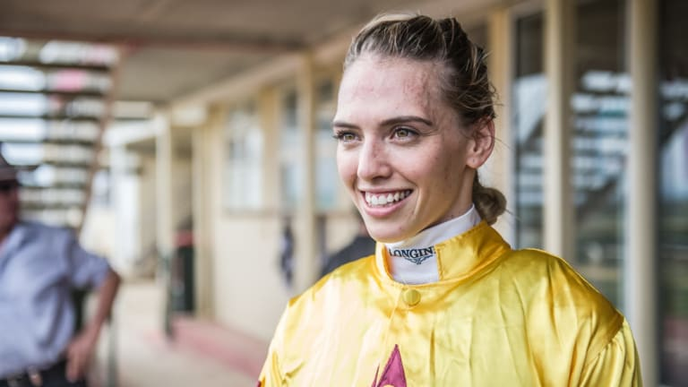 Family affair: Kayla Nisbet rides Denman Diva today, which is co-trained by her father John.