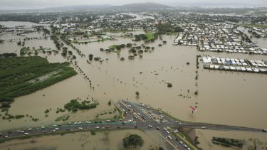 The aerial view of Townsville last Monday (Feburary 4) around the height of the flooding disaster.