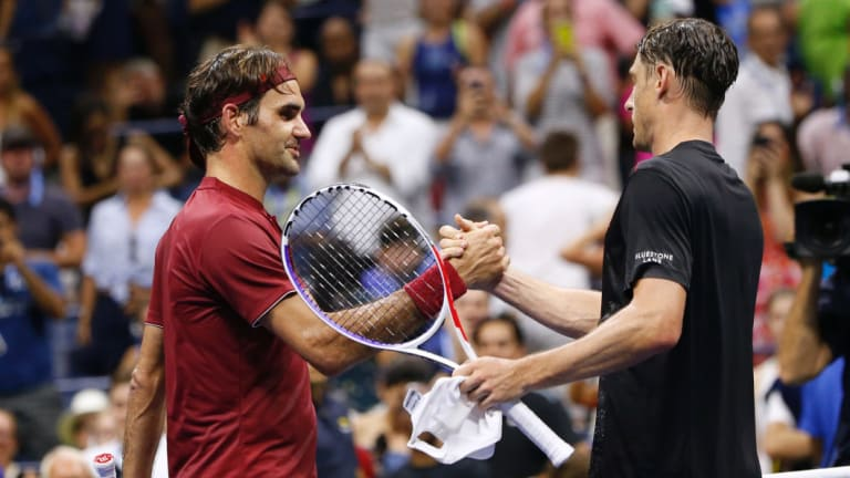 Career highlight: Roger Federer was full of praise for John Millman after the Australian knocked him out of the US Open.