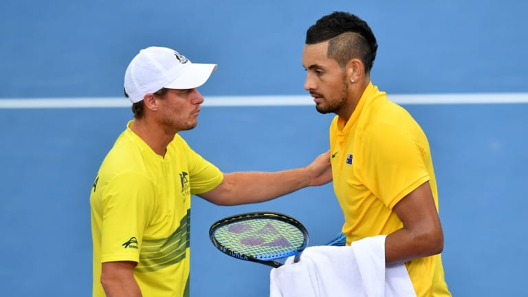 Absentee: Lleyton Hewitt doesn't have Nick Kyrgios to call upon this week.
