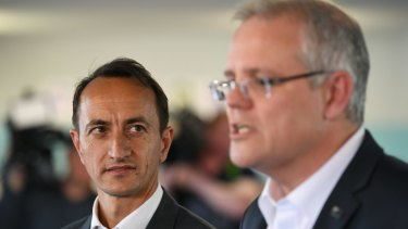 Prime Minister Scott Morrison and Liberal candidate for Wentworth Dave Sharma.