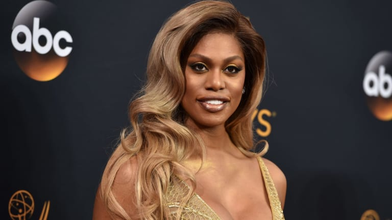 Laverne Cox at the Primetime Emmy Awards in 2016. She was the first transgender woman to be nominated for an acting Emmy.