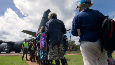 People being evacuated from Groote Eylandt and the McArthur River Mine airfield near Borroloola in the Northern Territory ahead of Cyclone Trevor last March.
