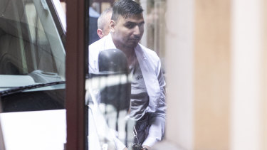 James Gargasoulas on his way into court on Monday morning.