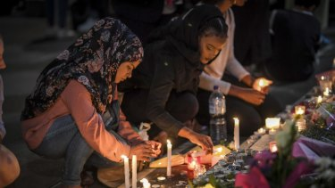A public vigil at Melbourne State Library on Monday to remember the victims of the Christchurch shooting.