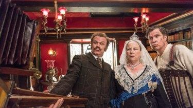 Watson (John C. Reilly), Queen Victoria (Pam Ferris) and Sherlock Holmes (Will Ferrell).