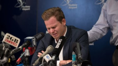 The crying game: Former Australian captain Steve Smith addresses the media in the wake of the cheating scandal in South Africa.