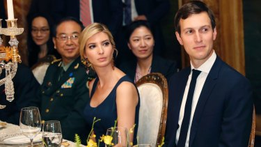 Trump and Kushner pictured during a dinner with President Donald Trump and Chinese President Xi Jinping.