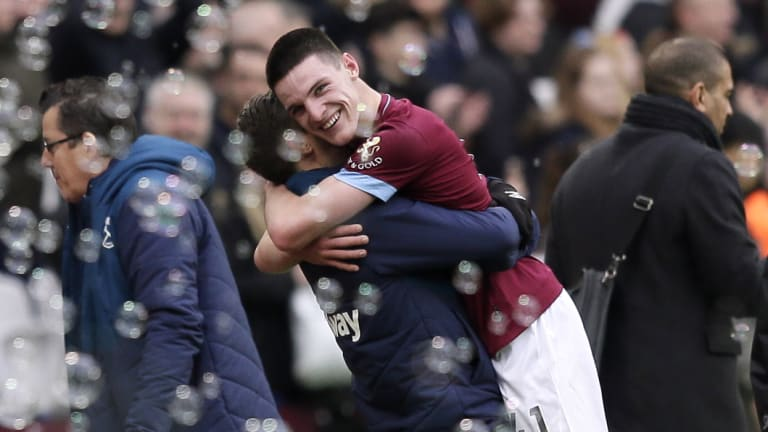 Teenager Declan Rice (right) got on the scoresheet for the Hammers.