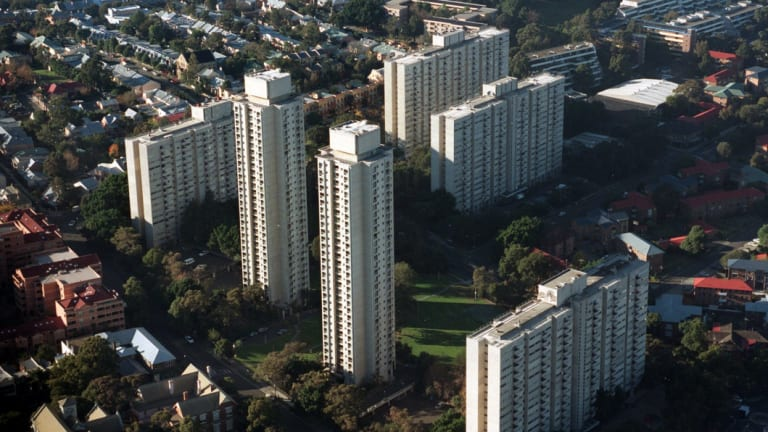 Public housing apartment blocks at Waterloo in Sydney's inner south.