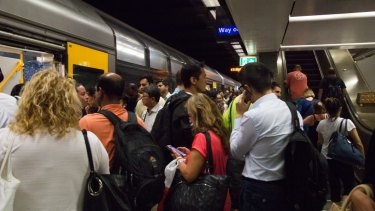 Town Hall train station suffers from congestion at peak hour.