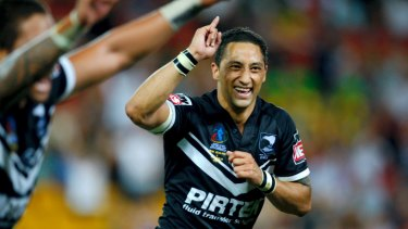 Glory days: Benji Marshall celebrating a victory with the Kiwis in the 2008 World Cup final,