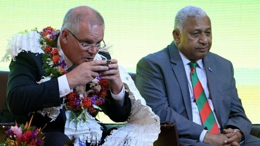 Australian Prime Minister Scott Morrison at a welcome ceremony with Fijian Prime Minister Frank Bainimarama in Suva last Thursday.