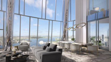 Artists impression of an apartment in One Barangaroo which is apart of the Crown Residences which are to be built in Barangaroo.
