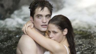 Kristen Stewart and Robert Pattinson in Twilight Breaking Dawn.