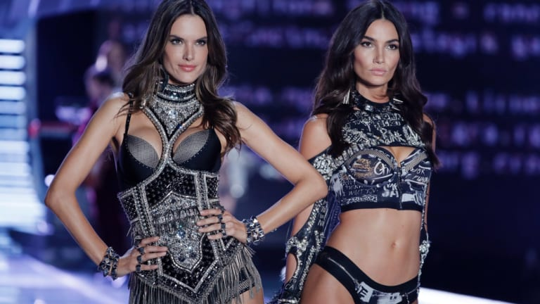 Models Alessandra Ambrosio, left, and Lily Aldridge wear creations during the Victoria's Secret fashion show in China last year.