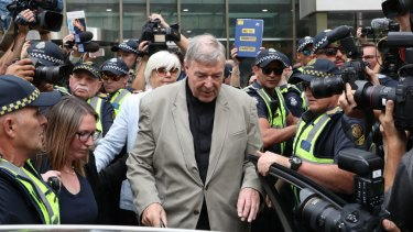 George Pell leaves the County Court on Tuesday.