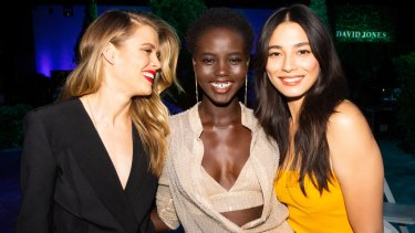 Victoria Lee, Adut Akech and Jessica Gomes at the David Jones Spring Summer 2018 show on Wednesday.
