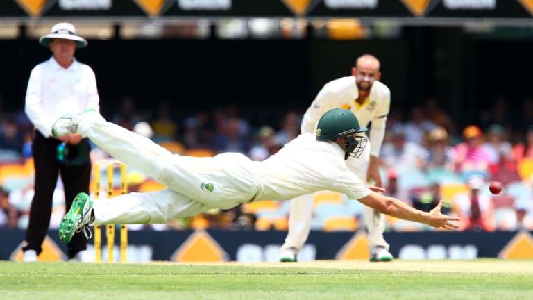 Marnus Labuschagne, then a sub, takes a screamer against India in 2014.