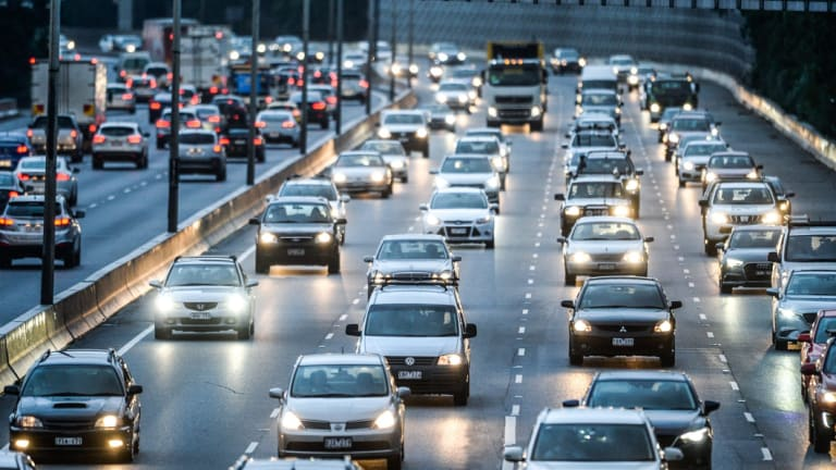 Peak hour traffic on the Monash freeway.