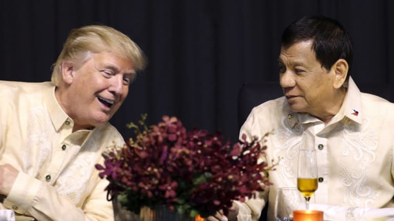 Trump talks with Philippine President Rodrigo Duterte in Manila, Philippines, last year.