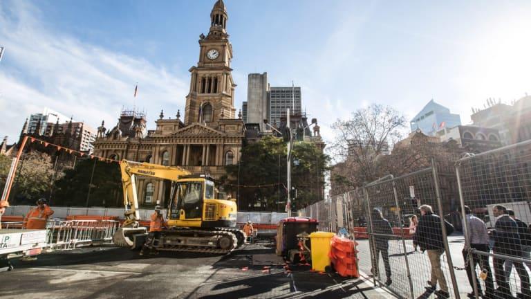 Light rail construction outside Sydney Town Hall in June.