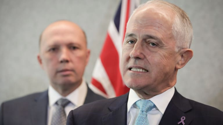 Home Affairs Minister Peter Dutton and Prime Minister Malcolm Turnbull.