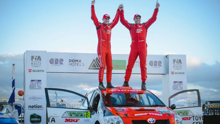 Canberran Harry Bates and Queenslander John McCarthy celebrate their victory in the National Capital Rally last year.