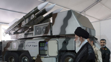 A Khordad air defence system is displayed while Supreme Leader Ayatollah Ali Khamenei visits an exhibition of achievements of Revolutionary Guard's aerospace division in Iran.
