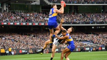 Jeremy McGovern flies high to start the sequence that led to Dom Sheed's matchwinner.