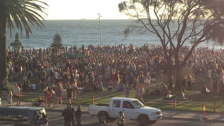 The St Kilda foreshore on Christmas Day in 2017.