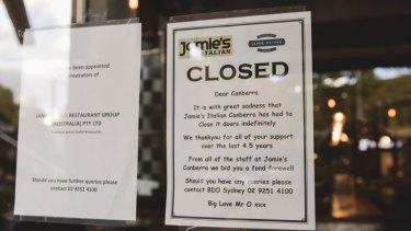 Jamie's Italian Canberra closes their doors.