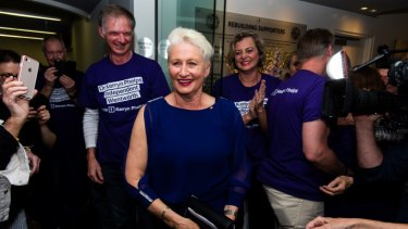 Dr Phelps photographed on the night she won the Wentworth byelection.