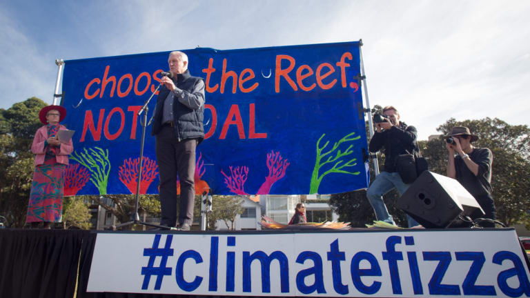 Former Liberal Party leader and member for Wentworth John Hewson at a climate protest in his old seat in 2017. The Wentworth by election will be held on October 30.