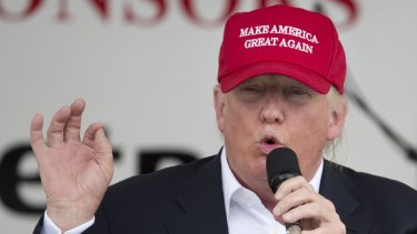 Disinformation played a role in 2016.  Then-Republican presidential candidate Donald Trump speaks to supporters.