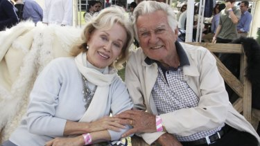 Blanche d'Alpuget and Bob Hawke at a polo event.
