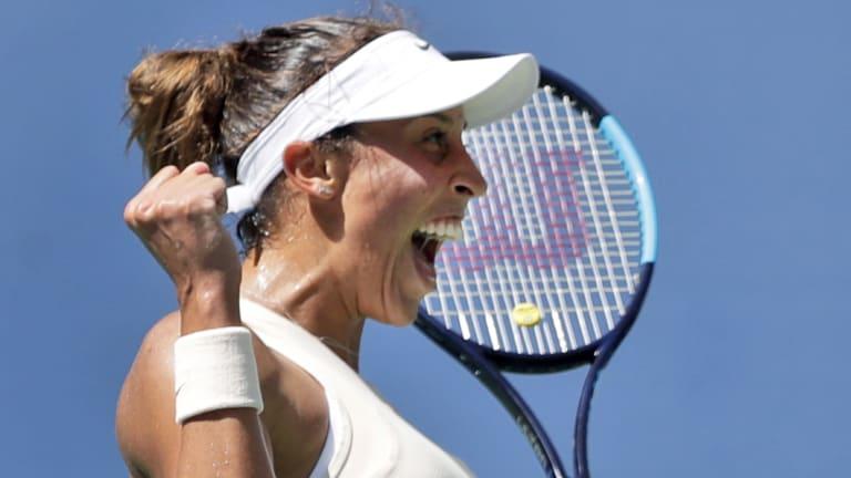 Madison Keys celebrates victory.