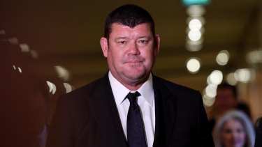James Packer leaves the Crown Resorts annual general meeting at the Crown Casino in Melbourne in 2017.
