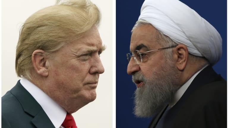 US President Donald Trump, left, and Iranian President Hassan Rouhani on right.
