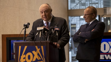 Russell Crowe as Roger Ailes and Simon McBurney as Rupert Murdoch.